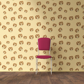 Wallpaper with pretzel pattern, single chair and wooden floor, 3D Rendering - UWF01302