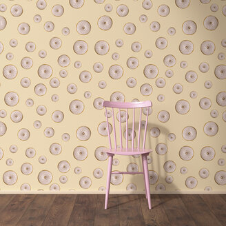 Wallpaper with doughnut pattern, single chair and wooden floor, 3D Rendering - UWF01305