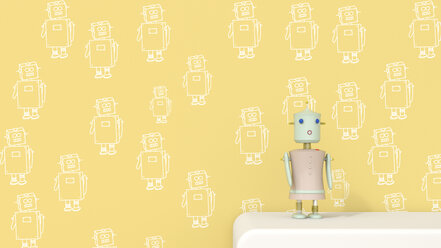 Female robot on sideboard in front of patterned wall paper, 3D rendering - UWF01308