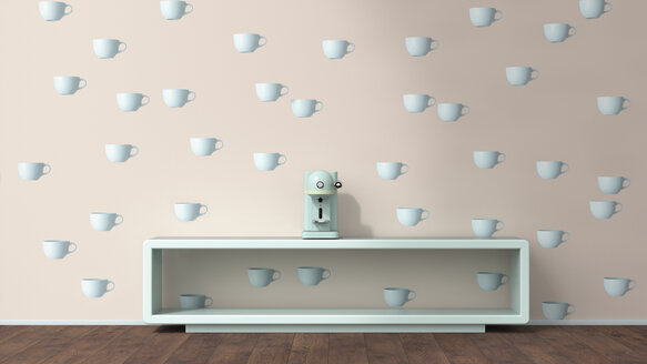 Coffee machine on sideboard in front of wallpaper with cup pattern, 3D Rendering - UWF01311