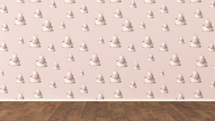Wallpaper with fancy cake pattern and wooden floor, 3D Rendering - UWF01314