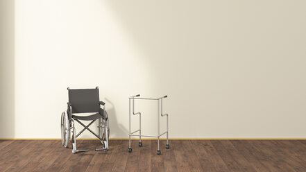 Wheelchair and wheeled walker in a waiting room, 3D rendering - UWF01317