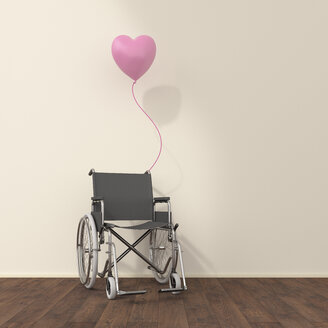 Wheelchair and pink balloon in a waiting room, 3D rendering - UWF01320