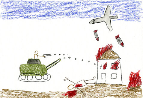 Children's drawing of war - CMF00731