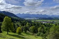 Germany, Bavaria, Swabia, East Allgaeu, View to Lechtal Alps, Lake Forggensee, Trauchgau and Halblech - LBF01699