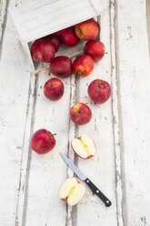 Red apples and knife on wood, box - LVF06407