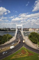 Hungary, Budapest, cityscape with Elisabeth Bridge over Danube river - ABOF00305
