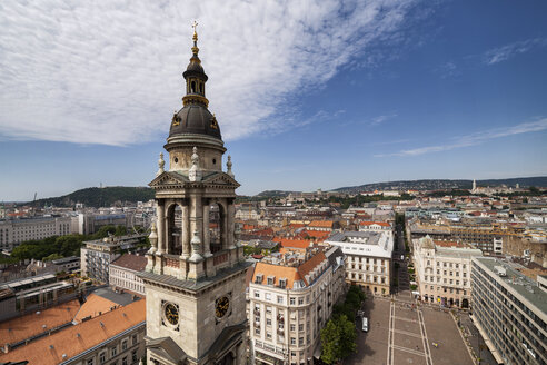 Hungary, Budapest, view over city, Szent Istvan Square, St. Stephen's Basilica southern bell tower - ABO00320