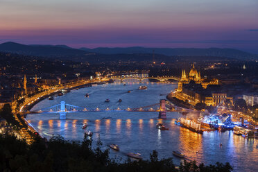 Hungary, Budapest, city at twilight from above, cityscape with Danube River - ABOF00329