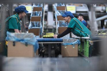Two women working in apple factory - ZEF14705