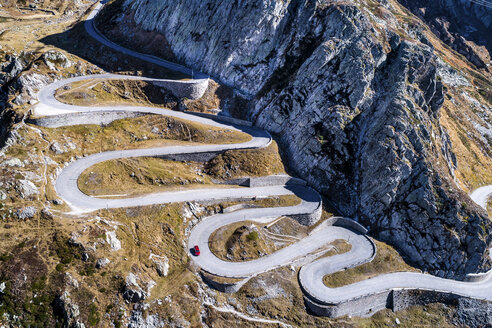Switzerland, Tessin, Tremola, Aerial view of Gotthard Pass - STSF01387