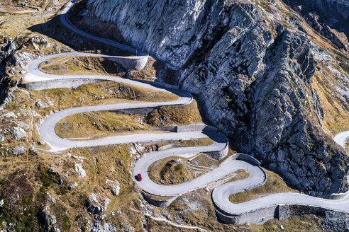 Switzerland, Tessin, Tremola, Aerial view of Gotthard Pass - STSF01387