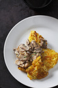 Potato rostis with champignons in cream sauce on plate - CSF28537