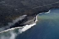 USA, Hawaii, Big Island, Hawai'i Volcanoes National Park, flow of lava, aerial view - HLF01062