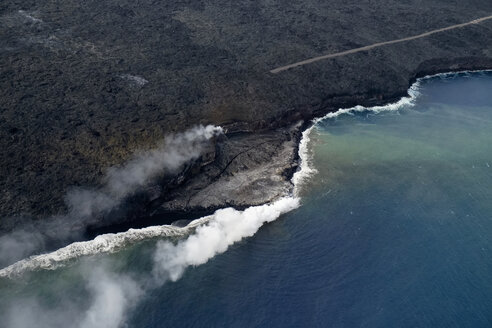 USA, Hawaii, Big Island, Hawai'i Volcanoes National Park, flow of lava, aerial view - HLF01062