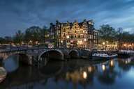 Netherlands, Amsterdam, Amsterdam, Canal view at dusk - XCF00159