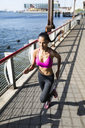 Woman training in the morning in Manhattan near Brooklyn Bridge - GIOF03329
