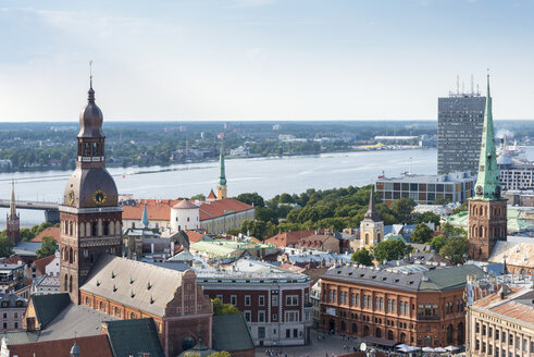 Latvia, Riga, Old town, with Riga Cathedral and St. Peter's Church, Riga Castle and Daugava river - CSTF01477