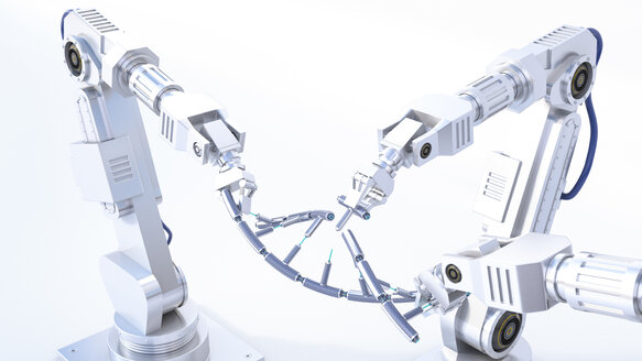 3D Rendering, robot arms repairing DNA string - AHUF00450