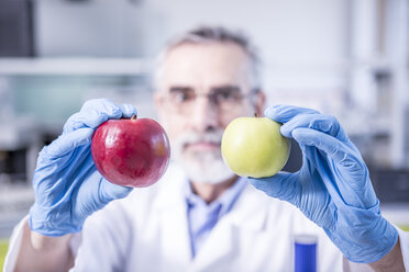 Scientist in lab holding green and red apple - WESTF23758