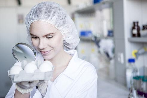 Scientist in lab examining eggs - WESTF23761