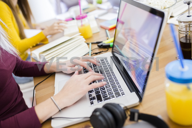 Female student using laptop at table at home - GIOF03378