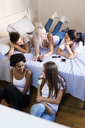 Group of female friends socializing in bedroom - GIOF03432