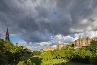 Great Britain, Scotland, Edinburgh, Scott Monument, Park Princes Street Gardens,  The Balmoral Hotel, Museum on the Mound Edinburgh and Lloyds Banking Group Head Office - FOF09554