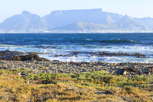 South Africa, Cape Town, Robben Island, Beachfront with waves looking at Table Mountain - ZEF14854
