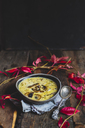 Bowl of cheese soup with leek and mushrooms - SBDF03379