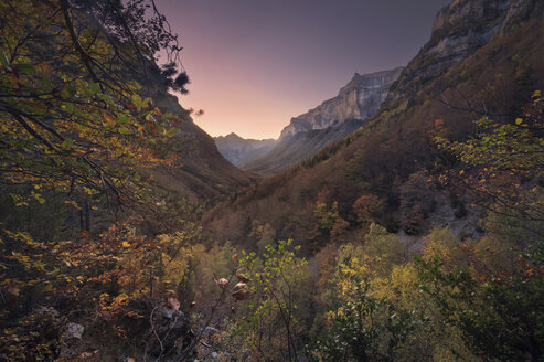 Spain, Huesca, Ordesa National Park, Sunset at Aragonese pyrenees - DHCF00162