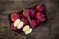 Red apples in basket, knife - LVF06427