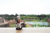 Thailand, Chiang Mai, cook figurine on a wooden table against grand canyon landscape - IGGF00188