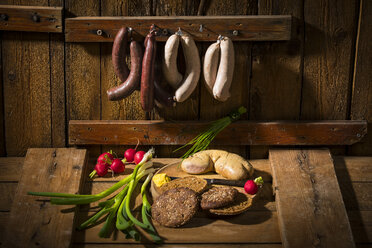 liver sausage, blood sausage,  spring onion, red radish, chives, mustard, bread - MAEF12457