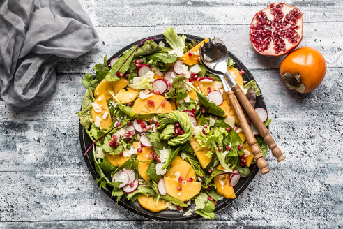 Kaki salad with red radish, pomegranate, avocado and cheese - SARF03422