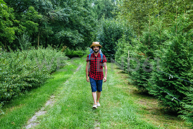 France, Strasbourg, man with travel backpack and straw hat walking on forest path - KIJF01733