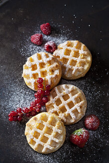 Four waffles, raspberries, strawberries and red currants  sprinkled with icing sugar - CSF28585