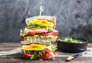 Sandwich with egg, salad, cucumber, tomate, salmon, avocado and onion - SARF03435
