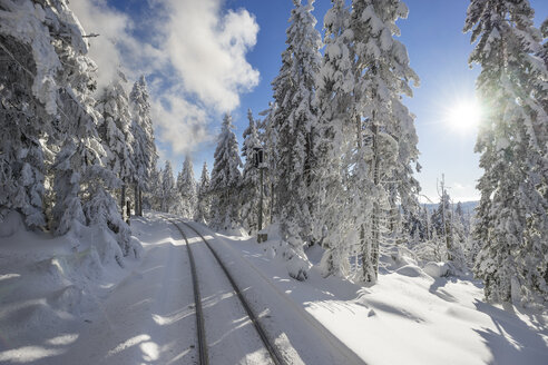 Germany, Saxony-Anhalt, Harz National Park, Brocken, rail tracks of Harz Narrow Gauge Railway in winter against the sun - PVCF01183