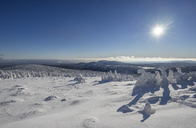 Germany, Saxony-Anhalt, Harz National Park Brocken in winter against the sun - PVCF01186