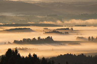 Germany, Bavaria, Upper Bavaria, Allgaeu, Pfaffenwinkel, View from Auerberg near Bernbeuren, morning fog over Lech Valley - SIEF07640
