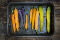 Oven winter vegetables, carrot, beetroot, and parsnip in roasting tray - LVF06479