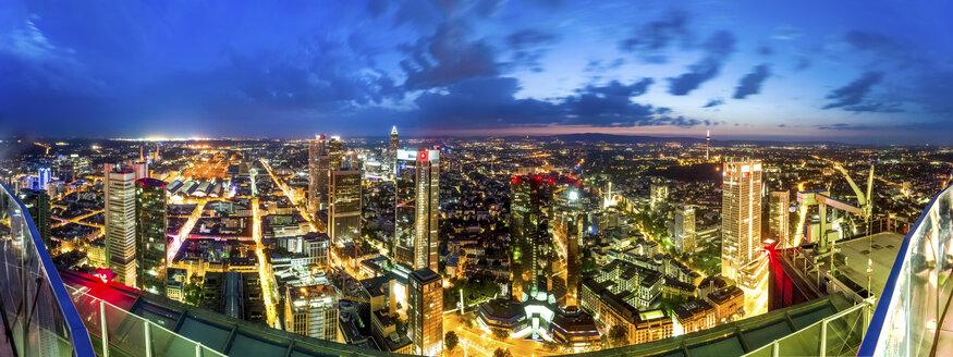 Germany, Hesse, Frankfurt, Cityview, blue hour, wide angle view - PUF00958
