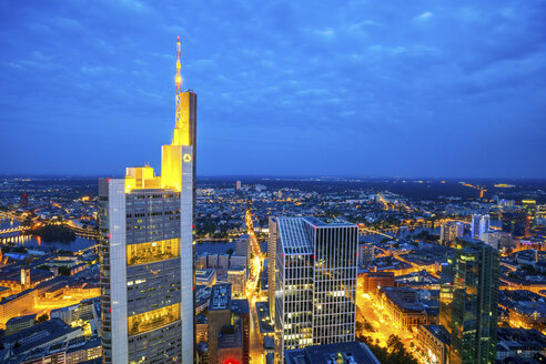 Germany, Hesse, Frankfurt, View to Commerzbank Tower, city view, blue hour - PUF00961