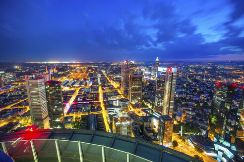 Germany, Hesse, Frankfurt, View from Maintower, city view, blue hour - PUF00964