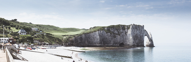 France, Upper Normandy, Seine-Maritime, Etretat, panoramic view of Porte d'Aval and rock needle Aiguille - DWIF00887