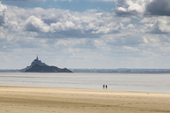 France, Upper Normandy, Beach near Genets, Mont Saint Michel in the background - DWIF00890