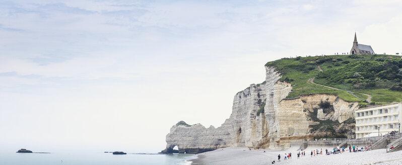 France, Upper Normandy, Seine-Maritime, Etretat, panoramic view of cliff Falaise d'Amont and church Notre Dame de la Garde - DWIF00893