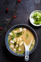 Miso soup, silken tofu, wakame seaweed, spring onion - SBDF03414