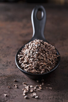Spoon of crushed raw cacao nibs on rusty metal - CSF28623
